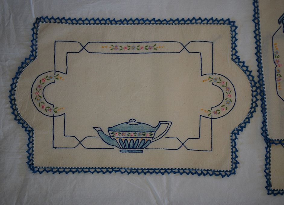 Vintage embroidered linen 3 Piece doily set, Embroidered with Blue teacup/teapot