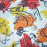 Vintage Flour sack, Fabulous bullfighter design, black figures on splashes of yellow, orange,