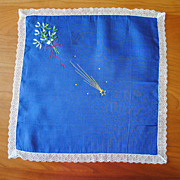 Pretty vintage Hankie, blue linen with Xmas embroidery; mistletoe and berries and Shooting sta