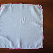 Pretty  vintage white linen Hankie with pink crocheted Basket