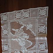 Large Vintage Filet crochet doily, white Easter Bunny design