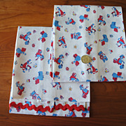 2 large pieces Vintage Feed Sack, white with small Red and Blue Women doing old time chores