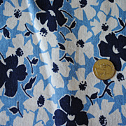 Vintage Feed Sack, sky blue with medium sized, Dark blue and White flowers