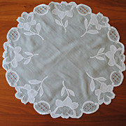 Beautiful vintage Doily, MInt green cotton with White applique flowers