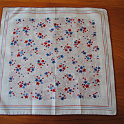 Vintage printed cotton Hankie, Patriotic REd, White and Blue