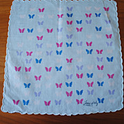 Vintage hankie, Leou d'Orly, Paris....light blue with Butterflies