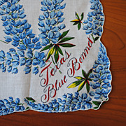 Vintage printed cotton Hankie, Texas Bluebonnets