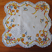 "Vintage cotton Hankie, ""Thoughts of You"" Yellow rose bouquets"