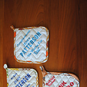 Vintage 1970's Potholders with Campaign Ads, Jerry Patterson, Frank Barbaro
