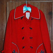 Vintage Hudson's Bay Co. red Wool Car coat, women's
