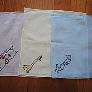 Set of Vintage cotton Children's hankies, embroidered with Animals