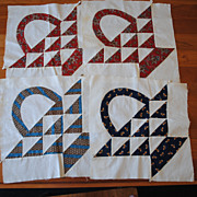 4 Vintage 1860's Quilt Blocks, Beautiful baskets