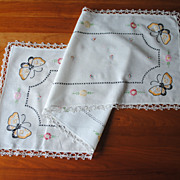 Vintage Embroidered cotton Runner, butterflies, with Tatted edging