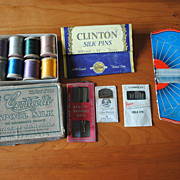 Collection of vintage Sewing notions and silk Thread