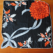 Vintage Cotton hankie-Large fall Chrysanthemum on Black