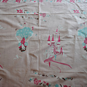 Vintage 1950 Walt Disney fabric, Snow White Apron/skirt, Pink