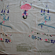 Vintage 1950 Walt Disney fabric, Snow White Apron/skirt, light Blue