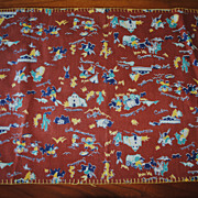 Vintage 1950's doll Coverlet, Juvenile print Cowboys and Indians, Western motifs