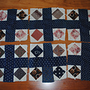 6 Vintage 1880's quilt blocks, Crossroads with Indigo/white Stars