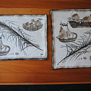 Set of vintage Vera placemats, 3 Napkins, FAll colors-earth tones