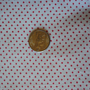 4 3/4 yards Vintage 1880 fabric, White with tiny Red stars, mill engraving print