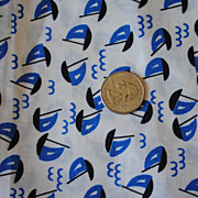 1 2/3 yard Vintage 1950's fabric, Blue sailboats on white