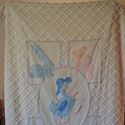 Vintage 1940's 50's Child's crib Chenille coverlet, Pink and Blue animals