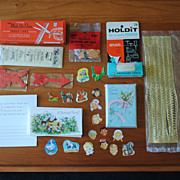 Collection of 1950's paper ephemera, cards,  decorative stickers, etc