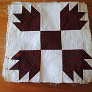 13 Vintage 1875 Bear Paw quilt blocks, crisp and beautiful!