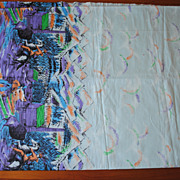 3 yd Vintage 1950's skirt border print, cotton fabric, Western Scene