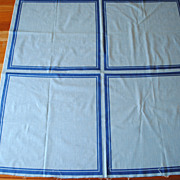 Vintage 1950's handkerchief fabric, Man's hankies, light blue with darker blue border, 4 hanki