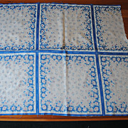 Vintage 1950's handkerchief fabric, floral prints with blues, 5 Hankies