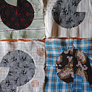 9 Vintage 1890-1900's quilt blocks, 16 patch sewn in to small Quilt top