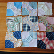 9 vintage 1920's quilt blocks, Bowties