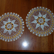 Pair vintage crochet doilies, goldenrod Flowers and white