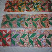19 1930s Pinwheel Star Quilt Blocks- Hand sewn