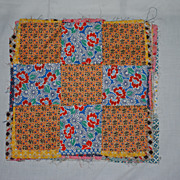 13 c1930 Nine Patch Quilt Blocks, hand and machine sewn