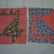 2 c1930 hand sewn Basket Design quilt blocks