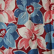 Large Piece Vintage Feed sack, Medium anemone flowers in Pink and Blue