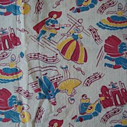 2 Pieces Vintage feed sack fabric, White with Masquerade dancers