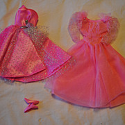 Mid 1980's Barbie clothes, 2 Bright beautiful Pink Party dresses