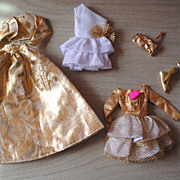 Mid 1980's Barbie clothes, 4 beautiful Gold glittery Party Dresses