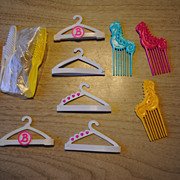 Mid 1980's Barbie accessories, hangers, brushes, combs