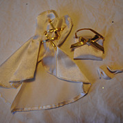 Mid 1980's Barbie clothes, White satin Gown with gold trim