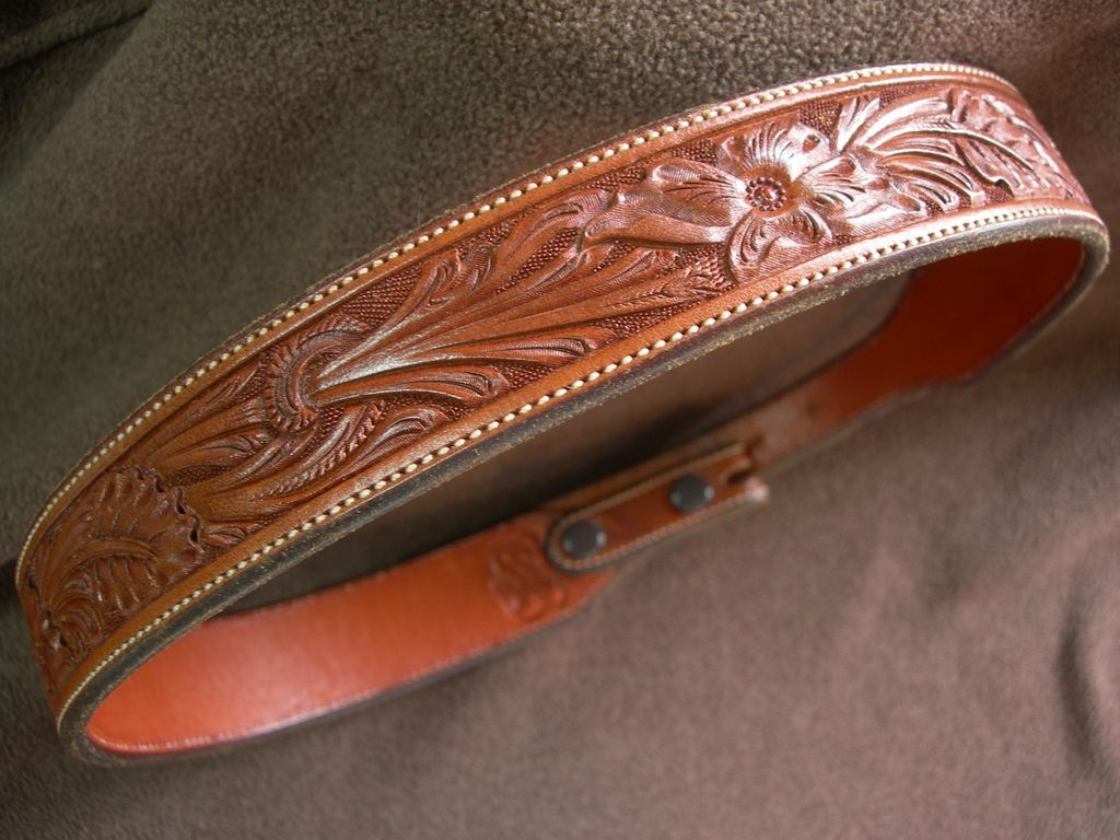 seidels tooled leather belt for ranger belt buckle