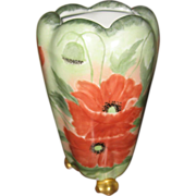 REDUCED Antique PH Leonard Austrian Footed Vase W/ Hand Painted Poppies