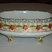 SALE Nippon Hand Painted Footed Dish Heavy Gold Raised/Floral
