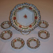 SALE Nippon Hand Painted 7 Pc. Set � Heavy Gold Raised/Floral