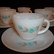 Fire King Bonnie Blue Cup & Saucer Sets � 6 sets available