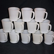 Fire King White �D� Handle Coffee Mugs -15 Available